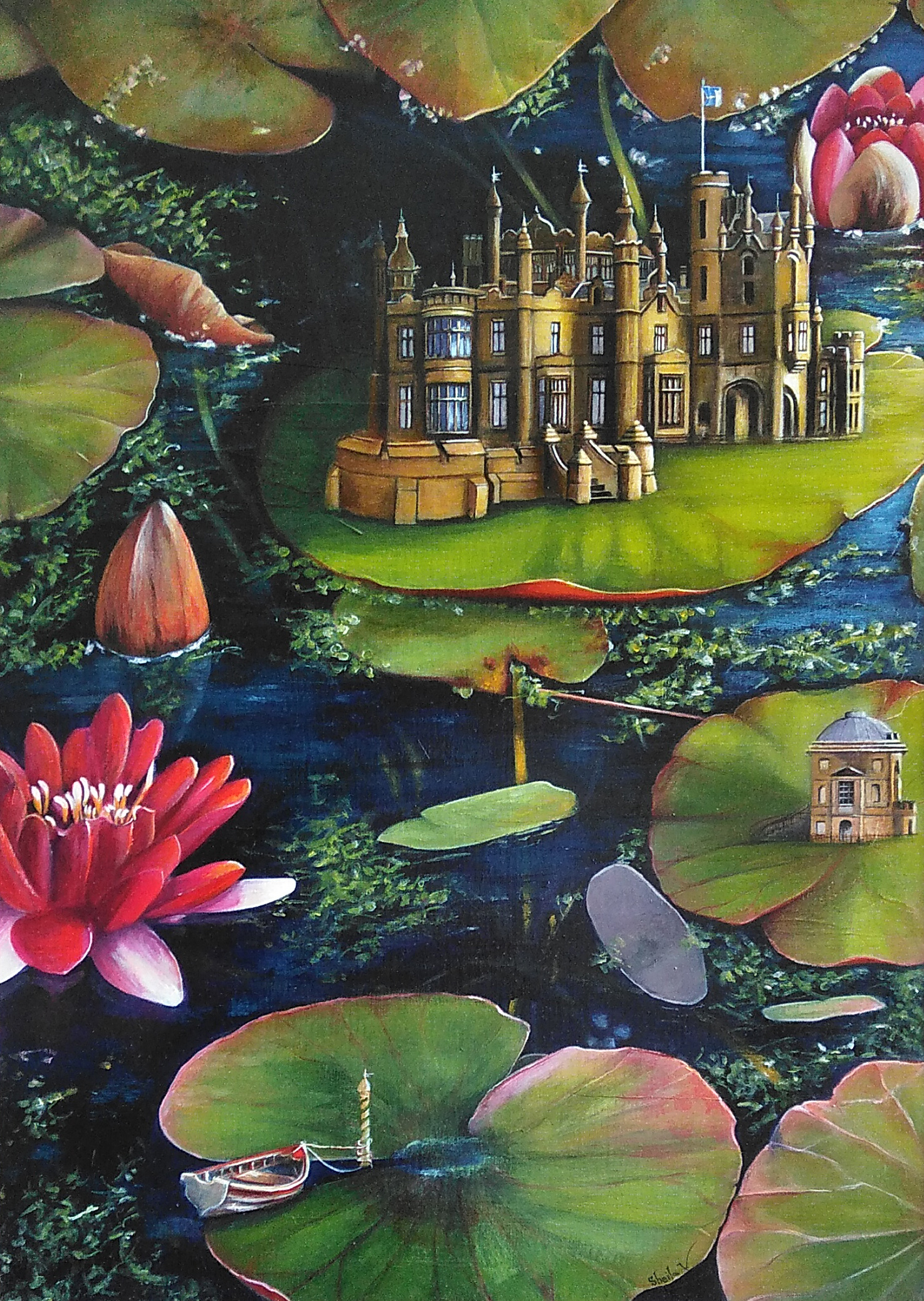 A painting of lily pads on the water. A castle and another building sit on some of the lily pads.