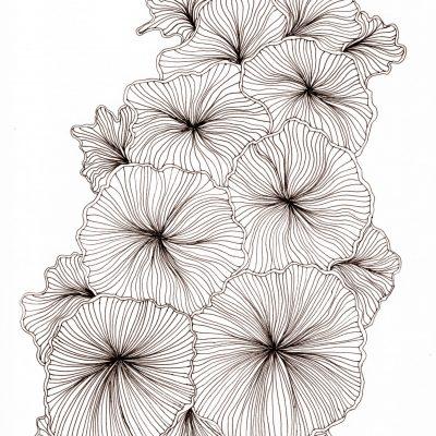 A drawing of mushroom-like shapes