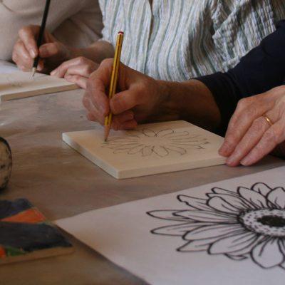 Elderly lady painting